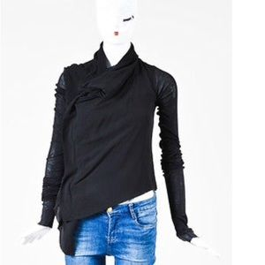 Rick Owens Tops - Rick Owens Black Rough Silk Zip Top