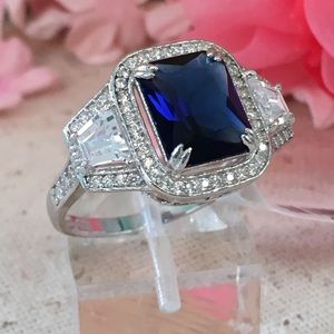 Jewelry - CZ Blue and White Diamond Sterling Silver Ring