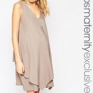 ASOS Maternity & Nursing Dress taupe size 4