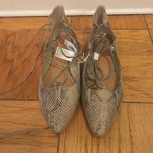 Brand new snakeskin lace up flats