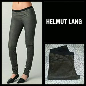 Helmut Lang Pants - Helmut Lang Gray Embossed Leather Leggings
