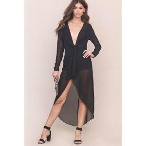 Dresses & Skirts - Black Chiffon Crepe Bodysuit Dress