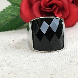 Jewelry - Black Glass Stainless Steel Ring