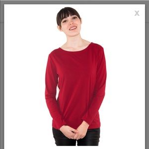 PopBasic Tops - PopBasic Red Long Sleeve Tee