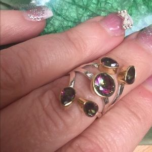 Rainbow topaz  ring size 8 handmade two tone 925