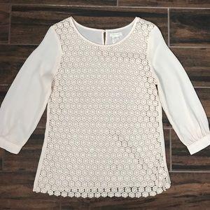 Boheme Tops - Light peach lace front blouse