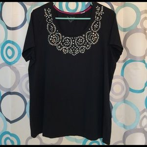 Chico's Tops - Chico's black top size 3=XL nice embellished neck