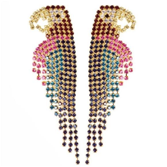 Boutique Jewelry - Last Pair🦚Dangle Drop Rhinestone Parrot Earrings