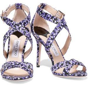 Jimmy Choo Shoes - Jimmy Choo Black & Purple Floral-Jacquard Sandals
