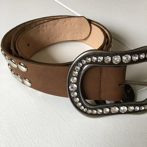 Accessories - BRAND NEW Brown Studded Jeweled Crystal Belt