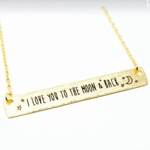 Boutique Jewelry - Love You To The Moon Bar Necklace