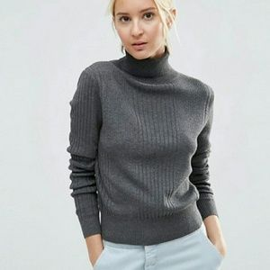ASOS Sweaters - 🌻HP🌻 ASOS Charcoal Gray Ribbed Knit Turtleneck