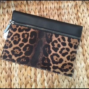 Victoria Beckham Handbags - Victoria Beckham Black & Leopard Calf Hair Clutch