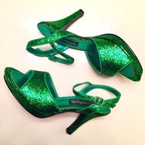 Funtasma Shoes - Green glitter pumps size 9