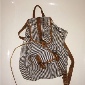 navy and white striped trendy backpack