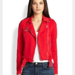 Current/Elliott Jackets & Blazers - Current Elliott red denim moto jacket sz 0