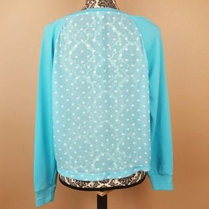 🌟 Aeropostale Polka-dot Sky Blue Sweater Large