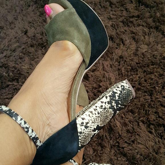 a900ed63cd2 Olive Green   Snake Chunky Heels!!