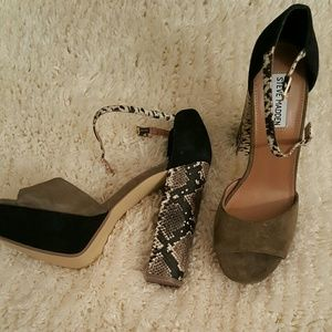 95ceabe14ad Steve Madden Shoes - Olive Green   Snake Chunky Heels!