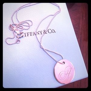 """Tiffany & Co. """"A"""" sterling silver charm with chain"""