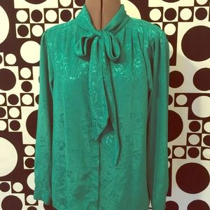 Vintage embossed satin blouse with tie neck