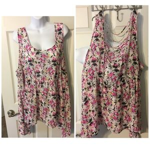 3 Torrid Chiffon Tank Top empire ladder back pink