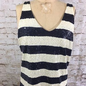 J.Crew Striped sequined Tank