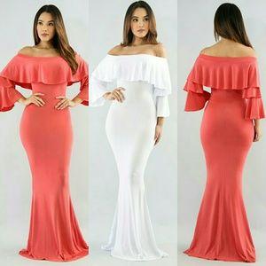 Dresses & Skirts - Nwt Off shoulder maxi dress a little sheer