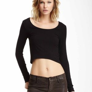 Eight Sixty Tops - Long sleeve black cropped shirt