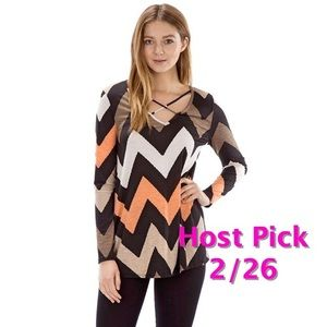 The Blossom Apparel Tops - SALE🌟🌟Chevron top with strapping front