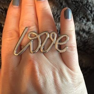 Adjustable double LOVE script ring