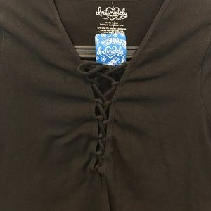 Free People Tops - NWT Free People Intimately thermal top lace up M/L