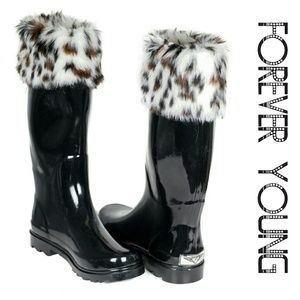 Women Tall Faux Fur Cuff Rainboots, #1804