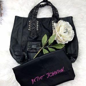 Betsey Johnson Handbags - 💕SALE💕Black Leather Betsy Johnson Hobo Bag