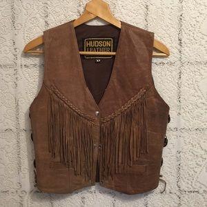 Vintage leather vest with fringe