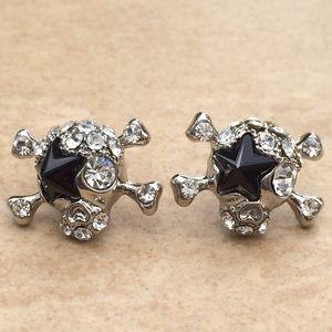 Silver Tone Black Star Crystal Skull Stud Earrings