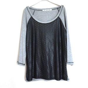 Gibson Tops - Gibson grey and black long sleeve laser cut shirt