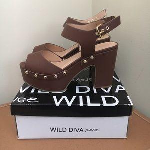 Brown Studded Platform Sandals