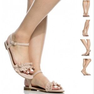 Boutique Shoes - 1 HR Sale❗️⬇️Magical Faux Suede Nude Ruffle Sandal