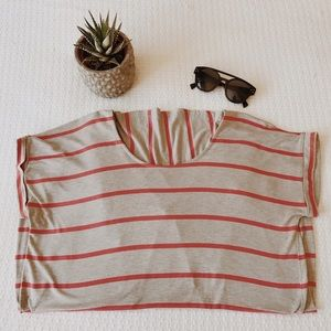 Anthropologie Low back striped Tee