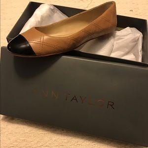 Ann Taylor tan with black toe flats