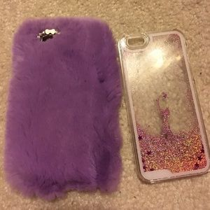 Accessories - 2 iPhone 6/6s phonecase waterfall glitter fur holo