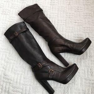 Stuart Weitzman Shoes - Stuart Weitzman Brown Copper Metallic Buckle Boots