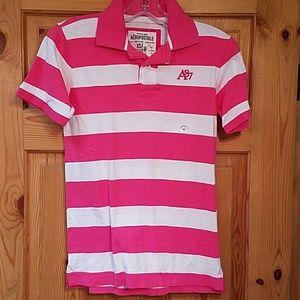 Aeropostale Tops - Aeropostale pink striped polo, NWT