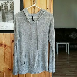 Grey soft loose fitting lightweight hoodie
