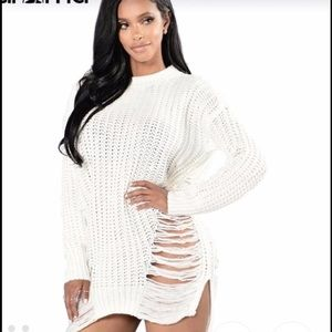 c1d522962aa Dresses - White ripped destroyed sweater dress NastyGal bebe