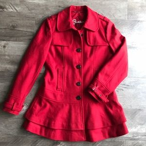 Guess Jackets & Blazers - ❤️SALE!!!❤️ GUESS Gorgeous Red Peacoat! NEW!!!