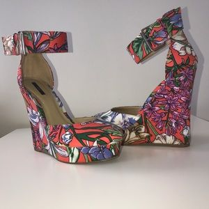 Forever 21 Shoes - XXI Bright Floral Platform Wedges