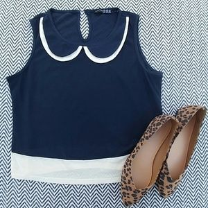 Tops - Navy and cream bib top from London, UK!