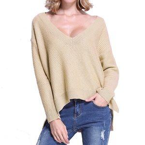 fairlygirly Tops - Loose Slouchy High Low Khaki V Neck Sweater Medium